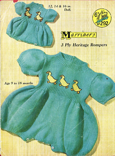 292M baby romper suit vintage knitting pattern  PDF Download