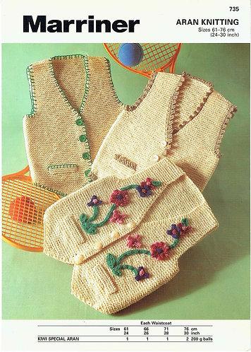 735 childrens waistcoat Vintage knitting pattern  PDF Download