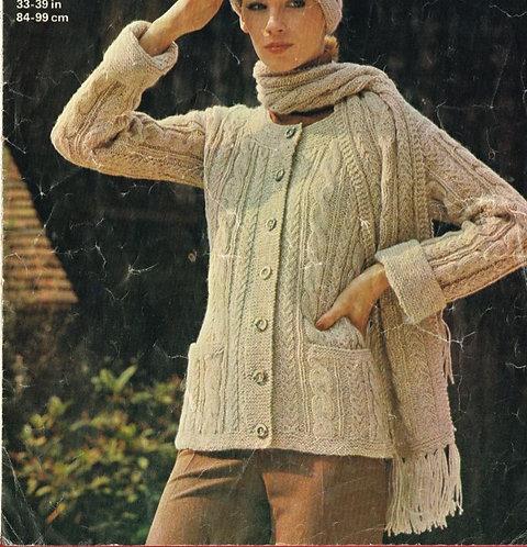 4583 ladies cardigan Vintage knitting pattern  PDF Download