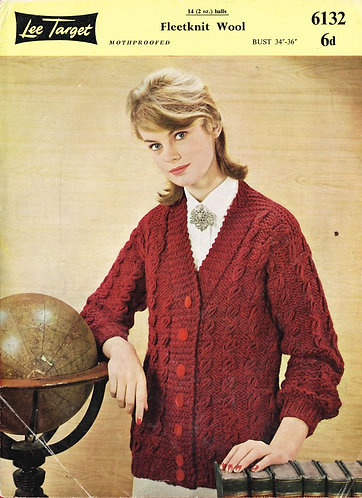 6132Lt ladies cardivan vintage knitting pattern   PDF download