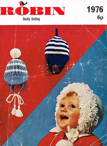1976R baby hats vintage knitting pattern  PDF Download