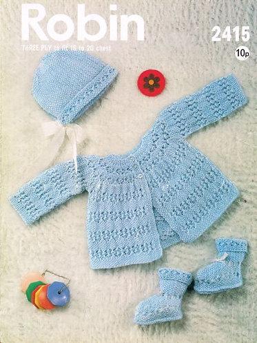 2415R baby matinee coat set vintage knitting pattern  PDF Download