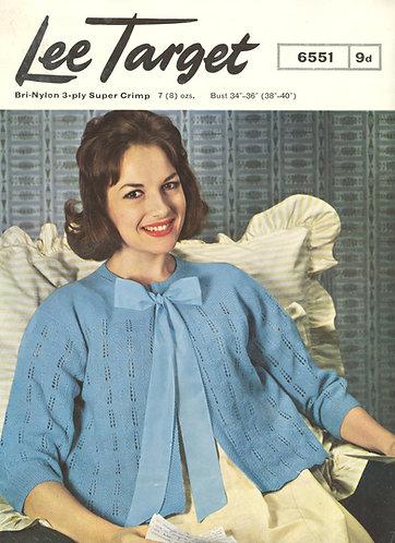 6551Lt ladies bedjacket vintage knitting pattern  PDF download