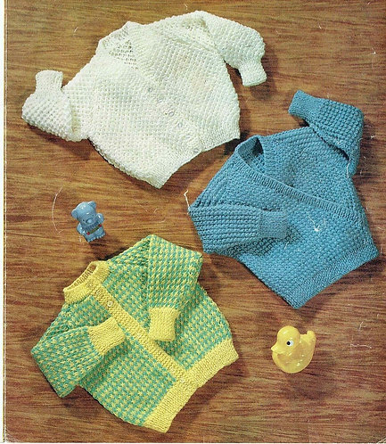 810M baby cardigan vintage knitting pattern  PDF Download