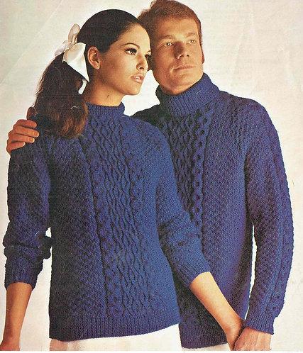 808BK ladies mens vintage knitting pattern PDF