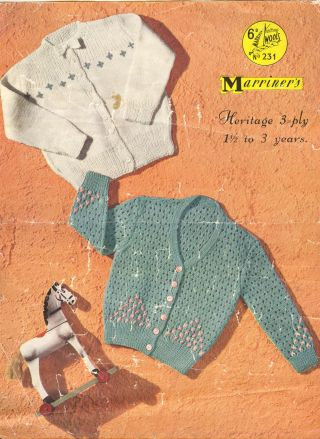 231M baby cardigan vintage knitting pattern  PDF Download