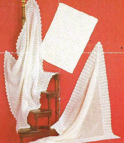 1500H baby shawl blanket vintage knitting pattern  PDF Download