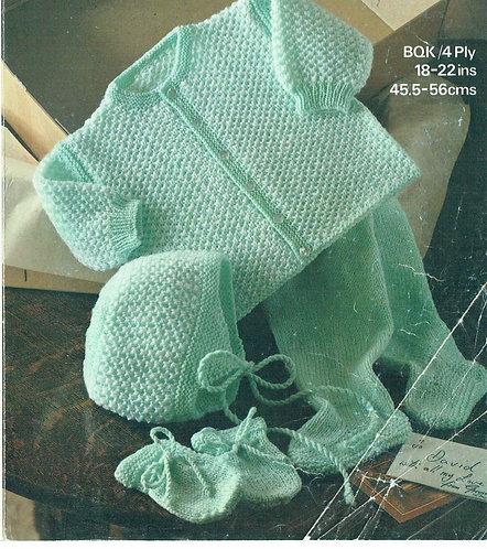 1852M baby pram suit vintage knitting pattern  PDF Download