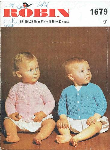 1679R baby cardigan vintage knitting pattern  PDF Download