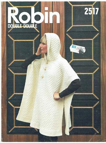 2517R Ladies poncho with hood vintage knitting pattern  PDF Download