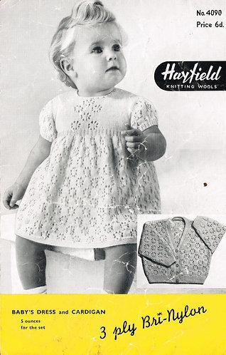 4090M baby dress vintage knitting pattern PDF Download