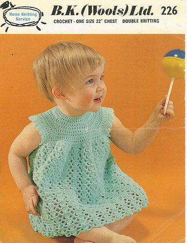 B K Wools 226 baby vintage crochet pattern PDF