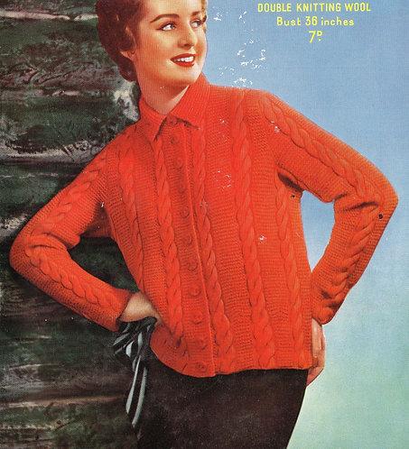 7474S ladies vintage knitting pattern PDF