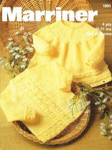 1993 baby matinee coat and dress vintage baby knitting pattern PDF Download