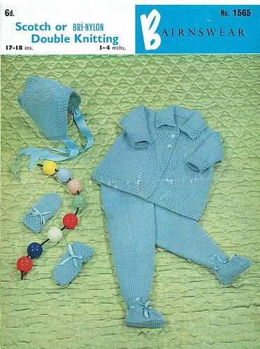 Bairnswear 1565 baby pram suit vintage knitting pattern PDF