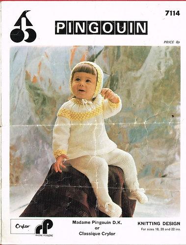 7114P baby pram suit vintage knitting pattern  PDF Download