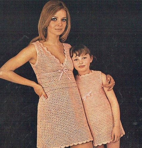 93T mother and daughter ladies dress vintage crochet pattern  PDF Download
