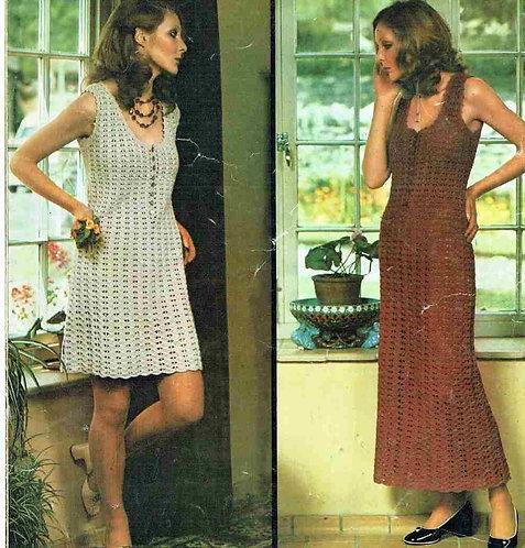 5149T ladies dress vintage crochet pattern  PDF Download