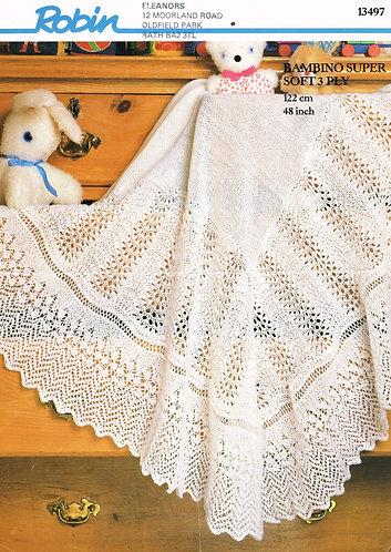 13497R baby shawl vintage knitting pattern  PDF Download