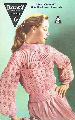 Bestway 2984 ladies bedjacket vintage knitting pattern PDF Download