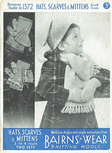 1372 childrens hat scarf sets vintage knitting pattern PDF Download