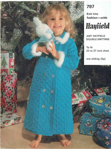 797H girls dressing gown vintage knitting pattern  PDF Download