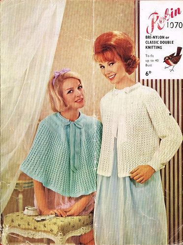 1070R ladies bedjacket cape vintage knitting pattern  PDF Download