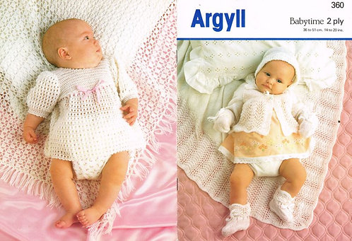 360Ar baby vintage knitting crochet pattern PDF