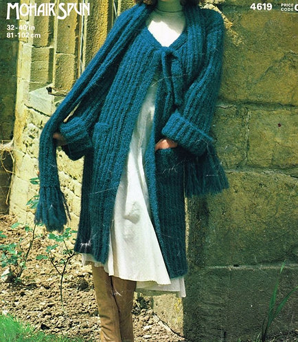 4619 ladies coat Vintage knitting pattern  PDF Download