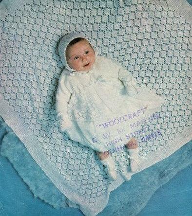 913M baby matinee coat shawl vintage knitting pattern  PDF Download
