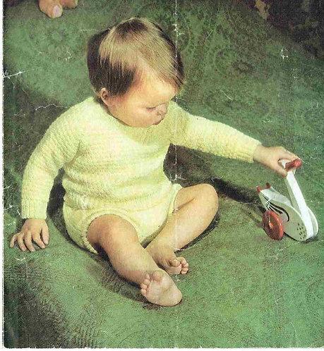 1284M baby jumper set vintage knitting pattern  PDF Download