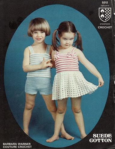 5212T girls dress set vintage crochet pattern  PDF Download