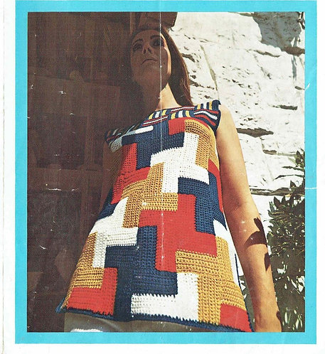 848T ladies patchwork tunic vintage crochet pattern  PDF Download
