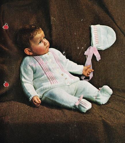 934m baby pram suit vintage knitting pattern  PDF Download