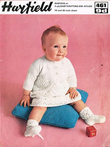 461H baby dress set vintage knitting pattern  PDF Download