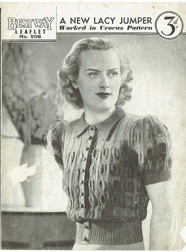 Bestway 506 ladies short sleeve jumper vintage knitting pattern PDF download