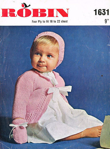 1631R baby matinee coat set vintage knitting pattern  PDF Download
