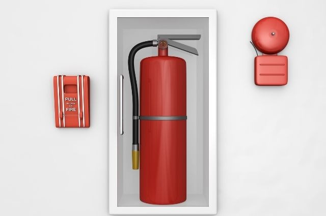 fire safety equipment including fire extinguishers and fire alarms