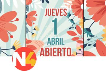 Jueves 1 de Abril ¡Abierto!