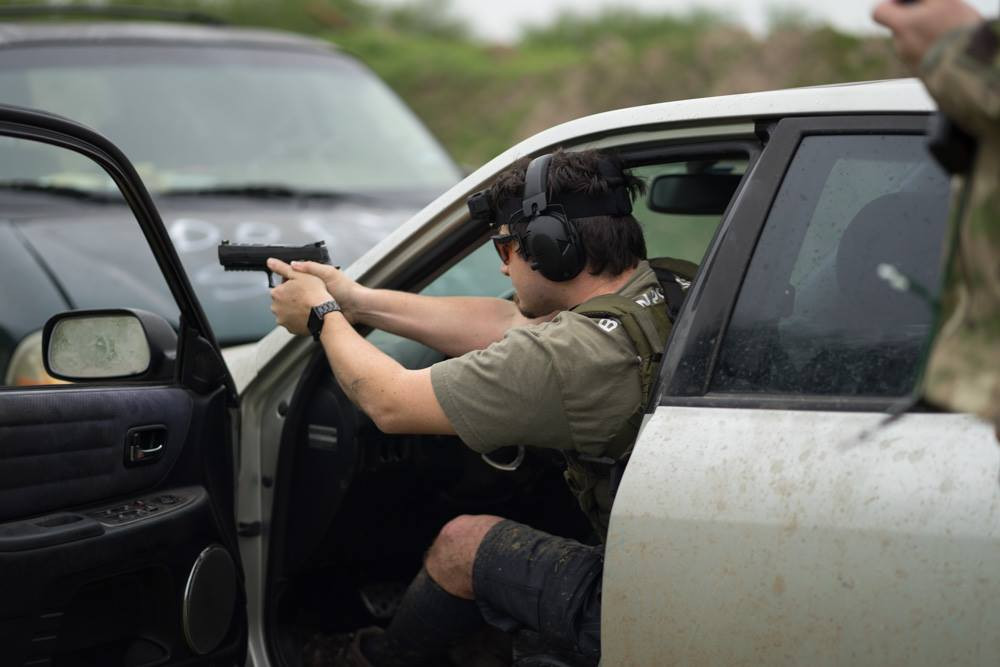 Shooting Pistol from a car