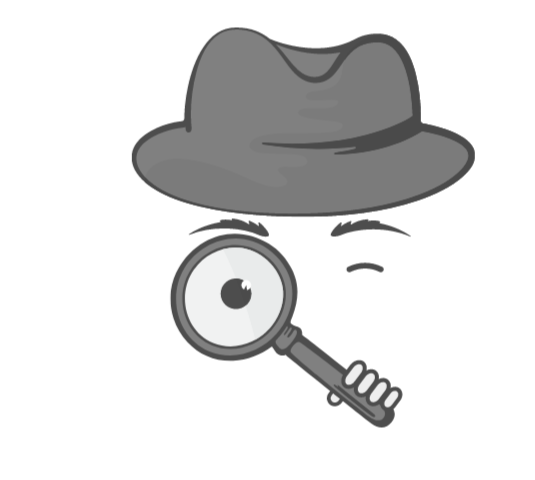 Spy with the hat and magnifying glass