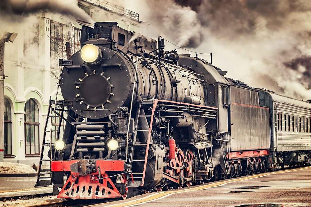 retro steam train as a symbol of train ride