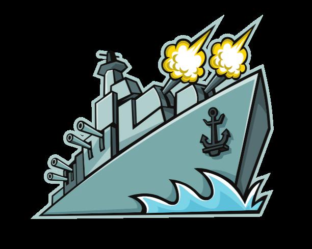 Battleship firing the guns