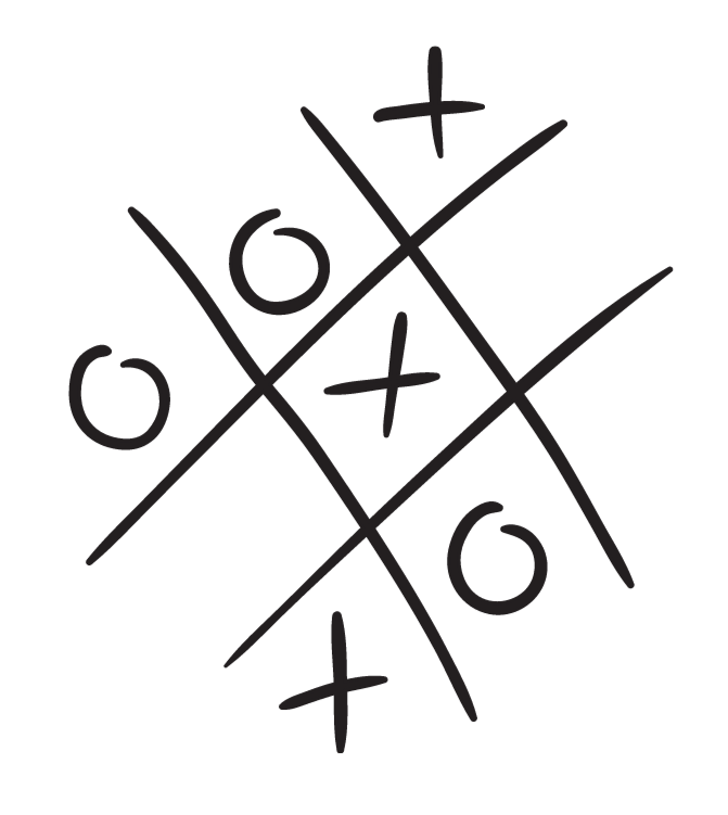 tic tac toe with x and o