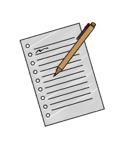 Notepad with a pen or pencil