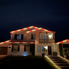Candy Cane Roofline with Lit Path