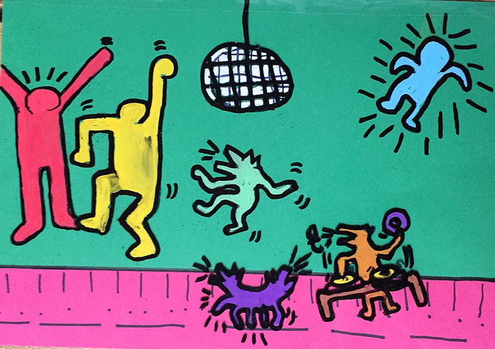 Keith Haring-inspired painting by a Fresh student