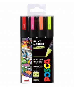 Posca Fluorescent Colour Marker –  Assorted set of 4