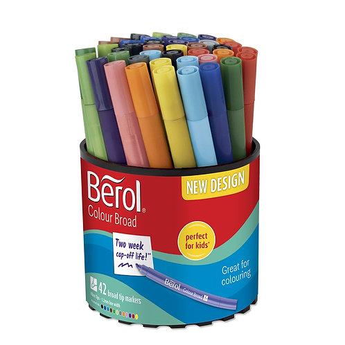 Berol® Colour Broad Pens – Assorted Tub of 42