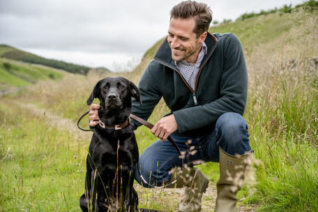 mens schoffel knitwear with dog photography